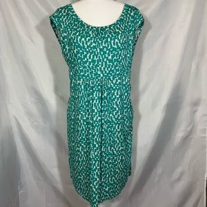 Boden teal and white dress pockets